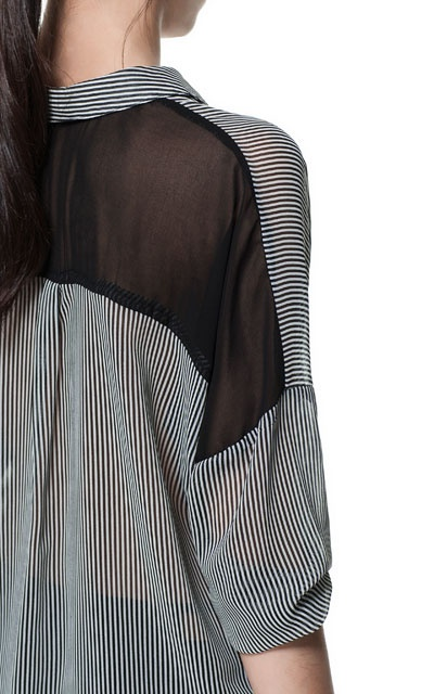 STRIPES SHIRT WITH COMBINATION AT THE BACK