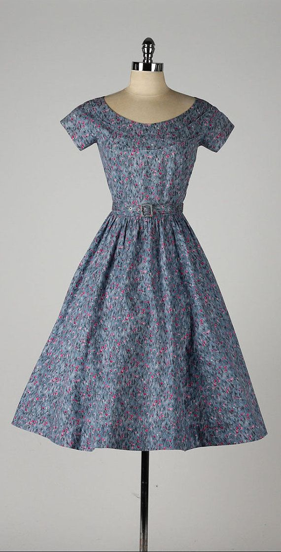 vintage 1950s dress . blue cotton . pink by millstreetvintage
