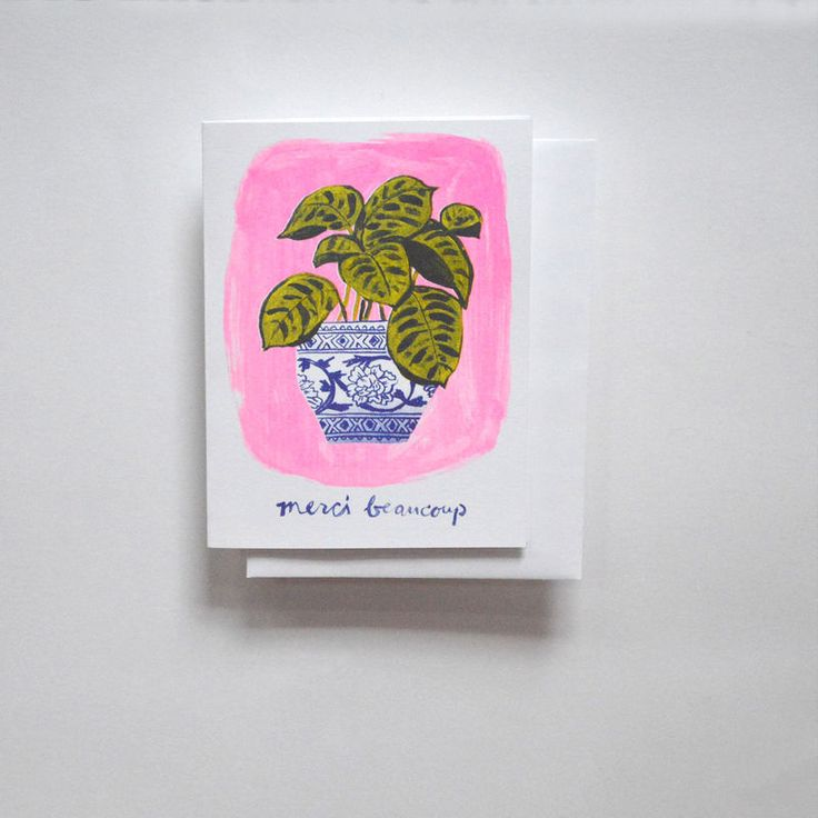 Risograph Card - Merci Beaucoup Plant - product images