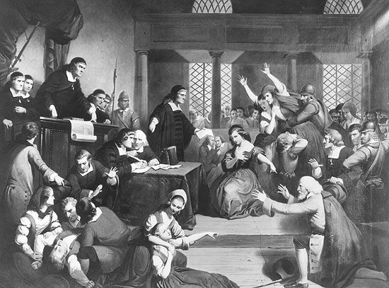 """""""Trial of George Jacobs of Salem for Witchcraft,"""" painting by Tompkins Harrison Matteson, circa 1855. #salemwitchtrials"""