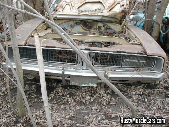 Wrecked rusted dodge charger - post rusty muscle car photos and project muscle cars for sale at RustyMuscleCars.com #dodgechargervintagecars
