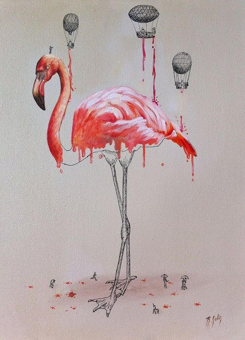 Flamingo dripping Oil and indian ink on canvas