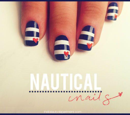 nautical: Nails Art Tutorials, Heart Nails, Nails Design, Summer Manicures, Sailors Nails, Summer Nails, 4Th Of July, Nails Polish, Nautical Nails