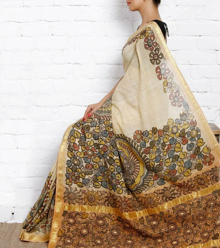 Beige Cotton Saree with Kalamkari