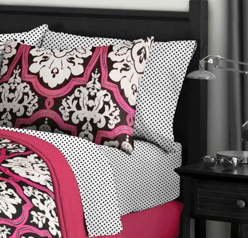 9t Black White Pink Damask Comforter Bedding Set Size