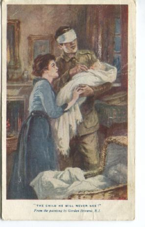 St Dunstan's Charity Postcard, The Child He Will Never See (painting by Gordon Browne)