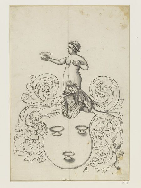 Design for stained glass. Heraldic shield with three cups, and crest of nude female holding a fourth.