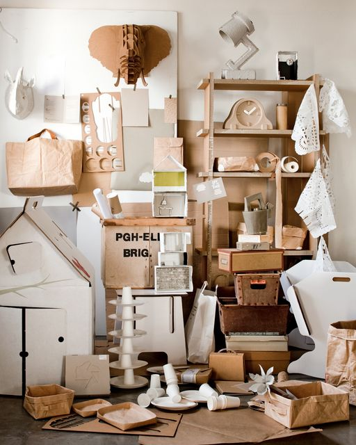 #Karton in je interieur. Hoezo saai! #Kartonnen meubels