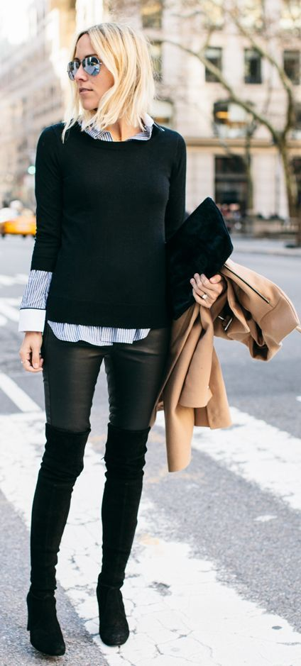 Black Suede Over-the-knee Boots | Street Fashion