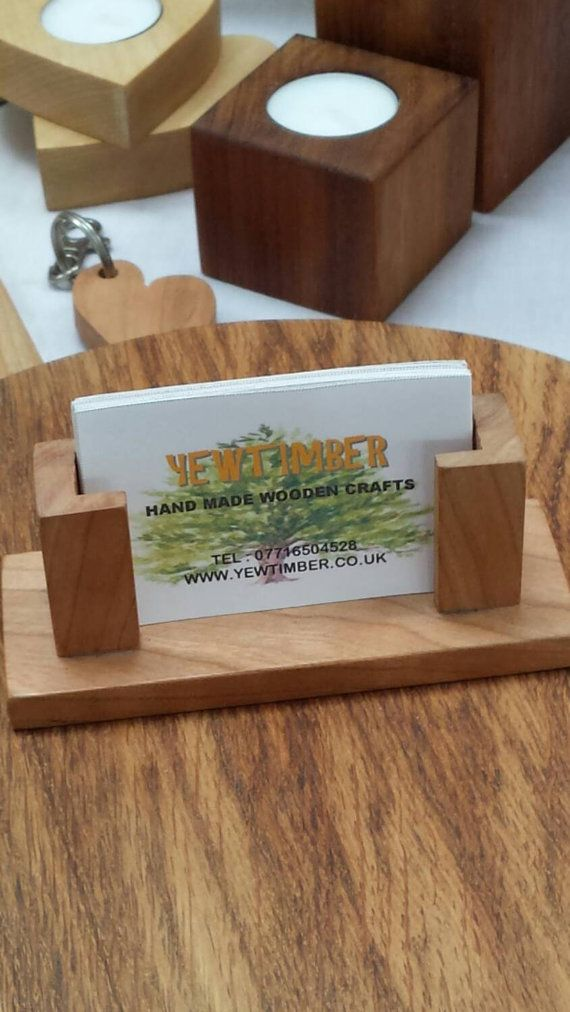 Hand crafted wooden business card holder