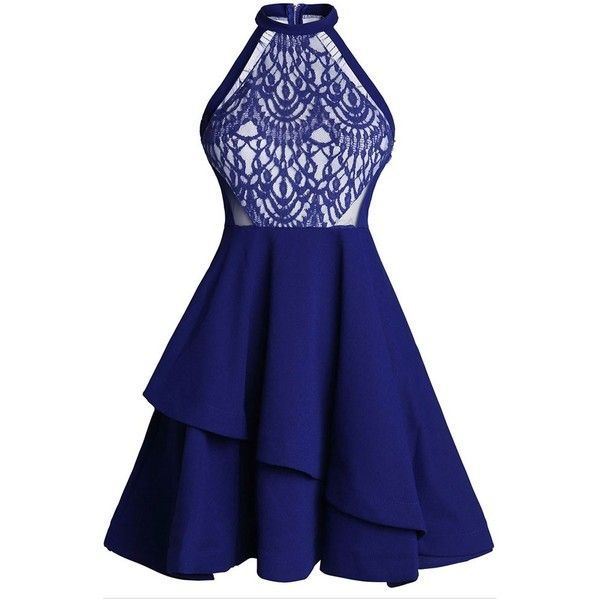 Women Patchwork Off the Shoulder Layered Club Dresses High Waist Lace... ($36) ❤ liked on Polyvore featuring dresses, blue off shoulder dress, skater dress, blue mini dress, layered dress and blue dress