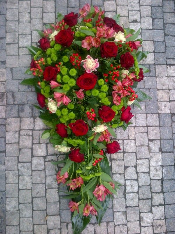 Funeral Flowers Red - Roses, Alstroemerie, Dianthus, Hypericum, Santini