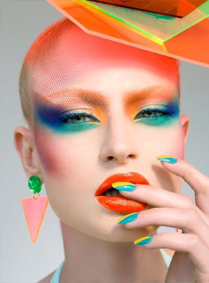 MUA: Natasha Denona. | BOLD. Orange. (Blue.) Cosmetic art. Fashion. Lips. Fingernails. (Manicure / Nail Art.) Eyes.. TG