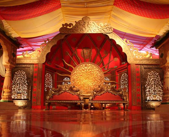 red and gold mandap