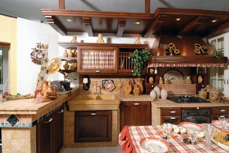 Cucina in muratura in legno e muratura.