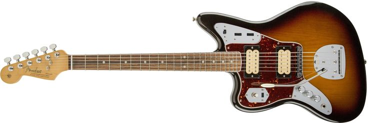 "Fender Kurt Cobain Jaguar LH NOS 3 Tone Sunburst Solid-Body Electric Guitar. A DiMarzio hum bucking DP103 PAF 36th Anniversary neck pickup and DP100 Super Distortion bridge pickup deliver legendary tone. A modern ""c"" shaped neck and a 24"" scale length give you a comfortable feel and smooth playability. Accessories include a black textured vinyl hard-shell case and an exclusive Fender Kurt Cobain book with photos and commentary by Charles Peterson and an insightful interview with Nirvana..."