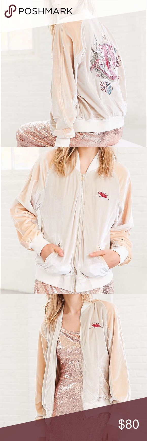 Urban outfitters velvet mermaid bomber Urban outfitters velvet mermaid bomber jacket. Tan. New with tags. Size medium. Silence + noise Urban Outfitters Jackets & Coats