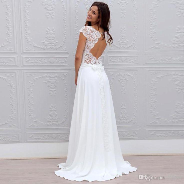 cheap hot sale bohemian wedding dresses lace and chiffon open back with cap sleeves cheap beach wedding gowns vestidos de novia 2016 as low as 10068