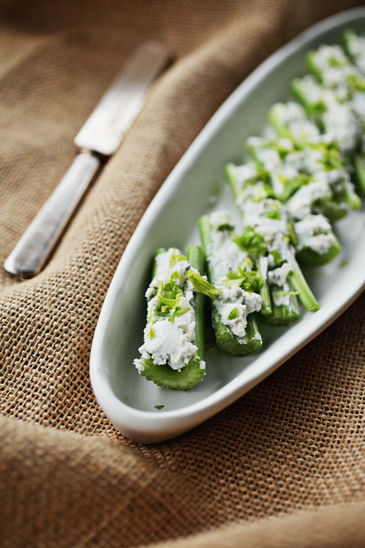 "Celery Stalks Stuffed with Blue Cheese and Apples from ""Lidia's Mastering the Art of Italian Cuisine,"" by Lidia Bastianich."
