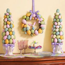 Egg Trees on mantle and wreath on pantry door