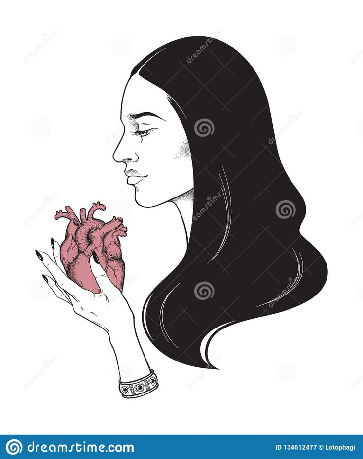 Beautiful Brunette With Heart In Her Hands Line Art And Dot Work Vector Illustra… – Magic
