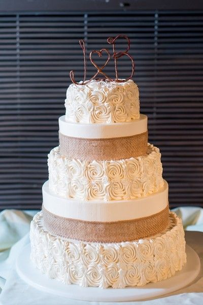 Rustic chic fall wedding cake idea - piped rosettes, burlap ribbon and personalized twig initial cake topper {Samantha Jay Photography}