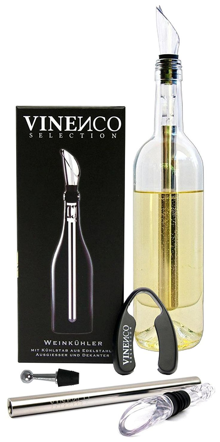 Weinkühler von VINENCO + Folienschneider, Edelstahl-Stopper & Aufbewahrungsbeutel – Premium 3-in-1 Flaschenkühler mit Dekantier-Ausgießer und Edelstahl-Kühlstab