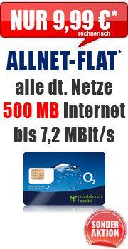 """Features im Überblick      Flatrate* in alle dt. Netze (Festnetz und alle Mobilfunknetze)     Internet-Flatrate (7,2 Mbit/s, ab 500 MB Drosselung auf GPRS-Geschwindigkeit).     nur 11,99 € Grundgebühr auf der Mobilfunkrechnung     48,- € Auszahlung - ergibt 9,99 € rechnerische Grundgebühr     Anschlussgebühr - 29,99 € werden nach SMS an die Nr. 8362 mit dem Text """"AP frei"""" erstattet!"""