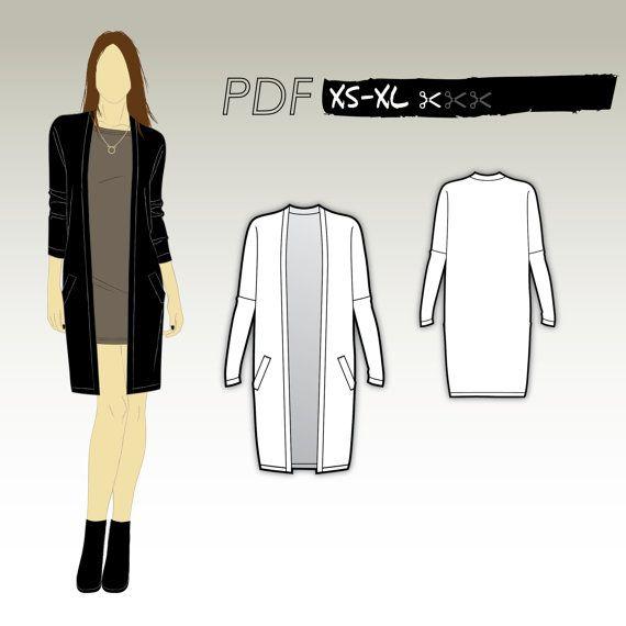 XS-XL Cardigan long avec poches passepoilées (Patron PDF pour lainage) Kommatia Patterns