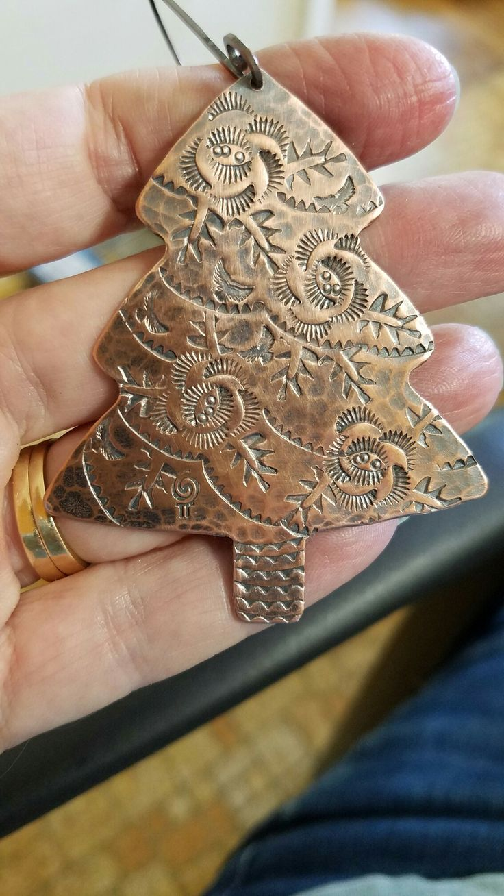 Stamped copper Christmas ornament by Galactic Pi