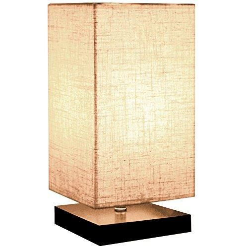 Minerva Minimalist Solid Wood Table Lamp Bedside Desk Lamp Nightstand Lamp with Linen Fabric Shade for Bedroom, Living Room (Square)