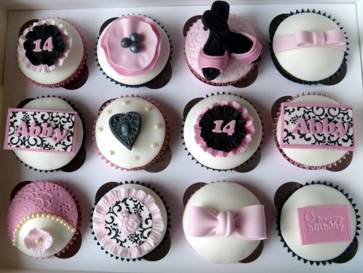 Cool pink cupcakes for a 14th birthday Party Time...TEEN
