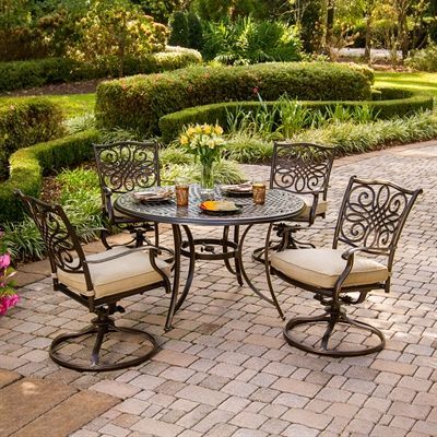 Hanover Outdoor Furniture TRADITIONS5PCSW Traditions 5-Piece Deep-Cushioned Swivel-Rocker Outdoor Dining Set
