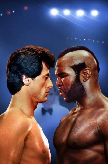 Sylvester Stallone and Mr. T in Rocky III (1982)