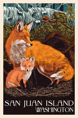 Friday Harbor, San Juan Island, WA - Fox & Kit - Lantern Press Poster