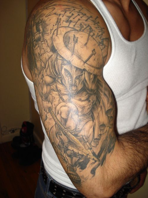 Christian sleeve tattoo designs for men html ideas angel for Warrior bible verse tattoos