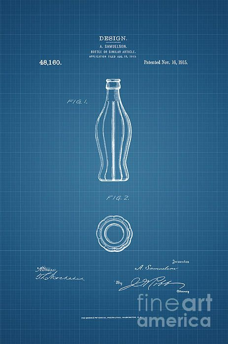 194 best patent and blueprint fine art prints images on pinterest 1915 coca cola bottle design patent art in white on blue graph paper background the malvernweather Images