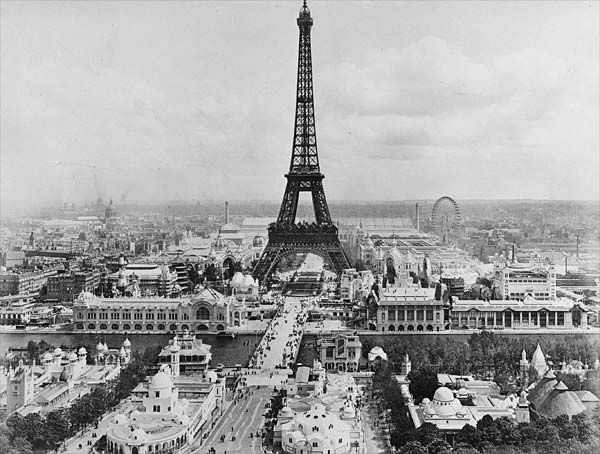 During the 19th century new design ideas and products were offered to the public in exhibitions and expositions held in impressive new buildings like the Eiffel Tower build in 1889 in Paris, France, by A. Gustav Eiffel, with elevators by Elisha Graves Otis.  Industrial Revolution.