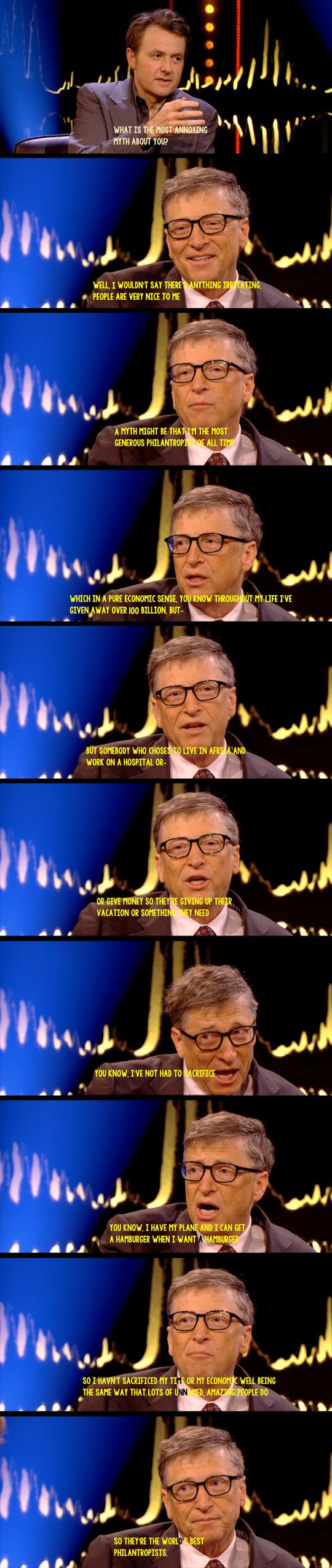Bill Gates Most Annoying Myth - Gotta give him credit for this response.  After certain levels of wealth, it becomes way more easy to give generously, and frankly obscene not to. I hope he recognizes the reality that it's not just hard work and ingenuity that got him his wealth and success. There is a considerable amount of good fortune involved in that sort of financial gain.