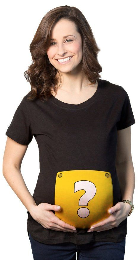 MATERNITY QUESTION MARK BLOCK NERDY VIDO GAME PREGNANCY TEE FOR LADIES