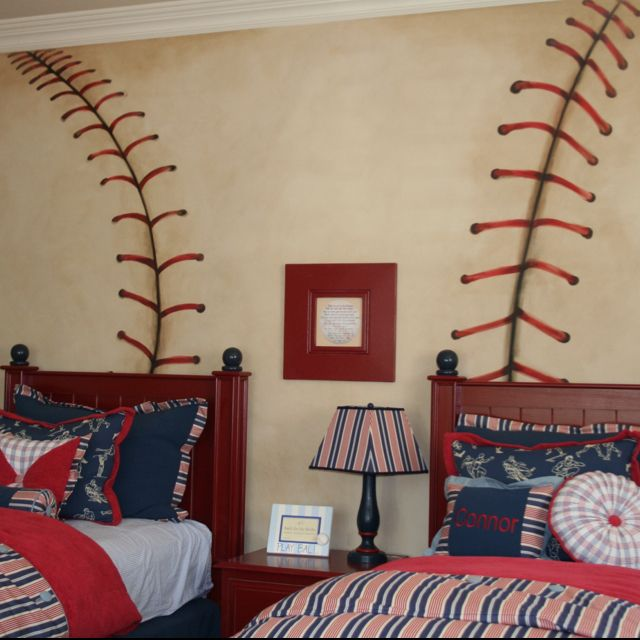 I love the baseball painted on the wall and the painte beds also.