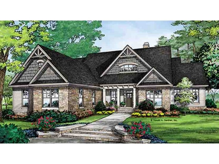 Home plan homepw77121 is a gorgeous 2966 sq ft 1 story 4 for Craftsman house plans one story with basement