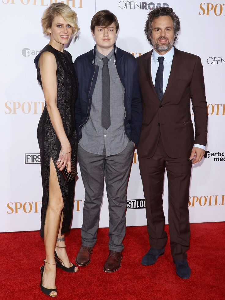 Mark Ruffalo, right, and his wife, Sunrise Coigney, and son, Keen Ruffalo, attend the New York premiere of Spotlight. Mark Ruffalo portrays reporter Michael Rezendes in the film about the Boston Globe's Pulitzer Prize-winning investigation into allegations of abuse in the Catholic Church. The film opens Nov. 6.  Jim Spellman, WireImage