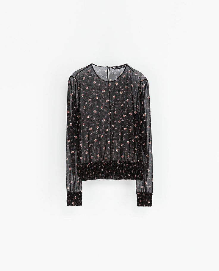 ZARA - WOMAN - PRINTED BLOUSE WITH ELASTICATED WAIST
