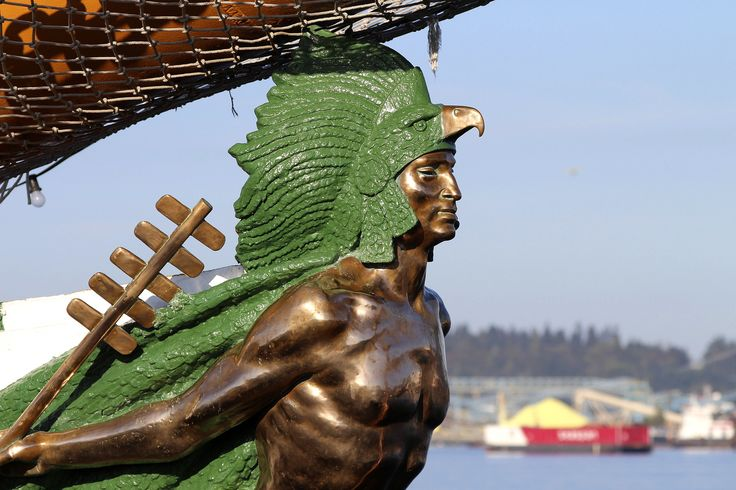 https://flic.kr/p/p4VXA6 | Cuauhtémoc Figurehead | The tall ship Cuauhtémoc is a sail training vessel of the Mexican navy, and is named for the 11th and last Aztec emperor. This beautiful ship is visiting Vancouver until tomorrow, and is moored 10 minutes from my place! These were taken in morning light, and I'm going back this evening for some golden hour captures.