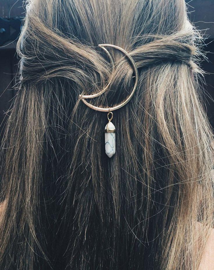 Everyday Cute Long Wavy Hair Styles Half Updo for School with Moon Gemstone Hair…