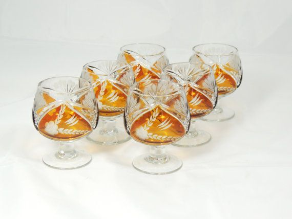 Brandy Glasses Cognac Glasses Amber Glass by SimplyCharmingukshop