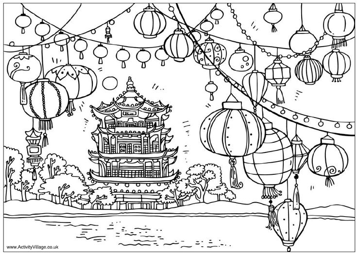 Chinese pagoda and lanterns coloring sheet