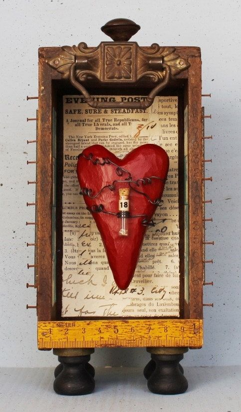 """Assemblage Shrine Shadow Box Found Object Hand Carved Heart """"Affection"""""""