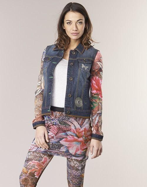 Υφασμάτινα Γυναίκα Τζιν Μπουφάν/Jacket  Desigual JETMAN Μπλέ